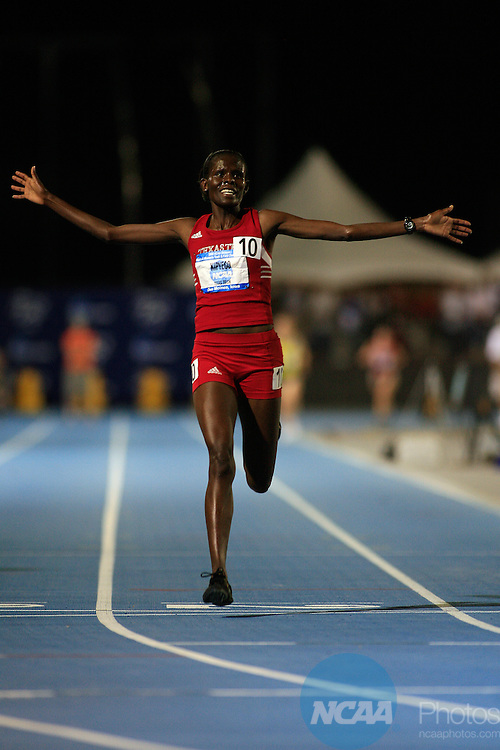 13 JUNE 2008:   Sall Kipyego, from Texas Tech, crosses the finish line in the women's 5,000 with a 31 second win over the second place finisher at the NCAA Division 1 Men's and Women's Track & Field Championships in Des Moines, Iowa.  Her time was 15:15.08.  David Peterson/NCAA Photos