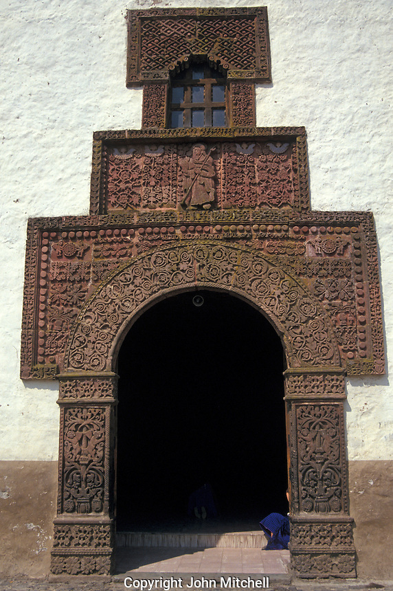 Moorish designs on the facade of the 16th-century Iglesia de Santiago Apostol in the village of Angahuan, Michoacan, Mexico