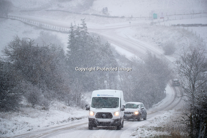29/01/19<br /> <br /> Vehicles struggle to get up a road near Buxton, Derbyshire.<br /> <br /> <br /> All Rights Reserved, F Stop Press Ltd +44 (0)7765 242650  www.fstoppress.com rod@fstoppress.com