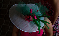 LOUISVILLE, KY - MAY 04: A woman wears a fancy hat on Kentucky Oaks Day at Churchill Downs on May 4, 2018 in Louisville, Kentucky. (Photo by Scott Serio/Eclipse Sportswire/Getty Images)
