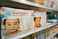 The Honest Co. diapers in a health and beauty aid store in New York on Wednesday, July 27, 2016. The company, founded by Jessica Alba in 2012, is reported to be up for sale. The company is valued at $1.7 billion but has never been profitable. Previously the company was reported to be preparing for an initial public offering. (© Richard B. Levine)