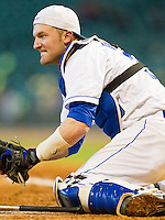 Catcher Michael Williams #35 of the Kentucky Wildcats prepares for a play at the plate against the Houston Cougars at Minute Maid Park on March 5, 2011 in Houston, Texas.  Photo by Brian Westerholt / Four Seam Images