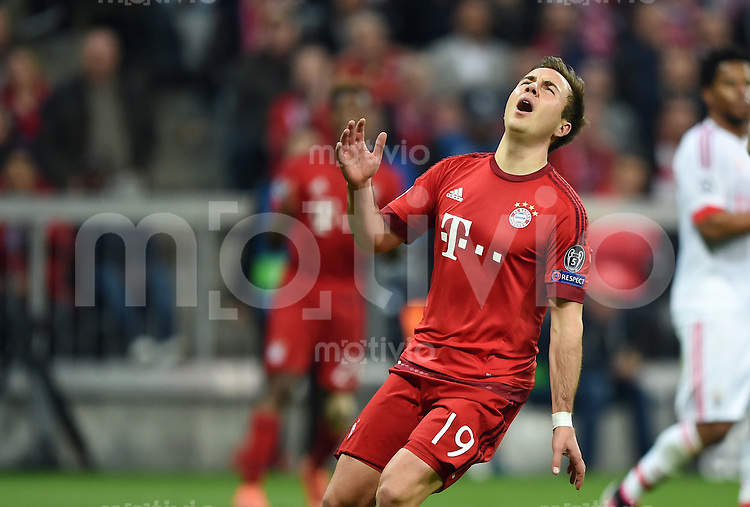 FUSSBALL CHAMPIONS LEAGUE  SAISON 2015/2016 VIERTELFINAL HINSPIEL FC Bayern Muenchen - Benfica Lissabon         05.04.2016 Mario Goetze (FC Bayern Muenchen) enttaeuscht