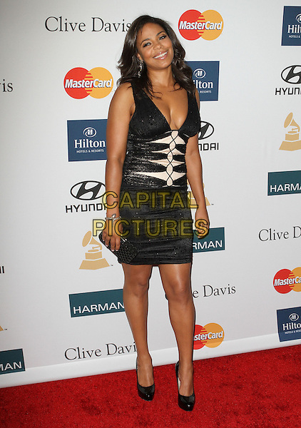 Sanaa Lathan.Clive Davis And The Recording Academy's 2012 Pre-GRAMMY Gala Held at Beverly Hilton Hotel, Beverly Hills, California, USA..February 11th, 2012.full length black dress lace pink low cut cleavage .CAP/ADM/KB.©Kevan Brooks/AdMedia/Capital Pictures.