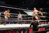 WWE Champion Jinder Mahal (left) fights against Randy Orton at a WWE Live Summerslam Heatwave Tour event at the MassMutual Center in Springfield, Massachusetts, USA, on Mon., Aug. 14, 2017. Mahal lost the match.