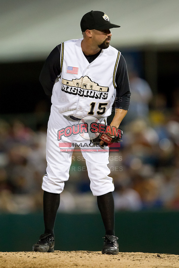 Nick Vincent (15) of the San Antonio Missions on the mound during a game against the North All-Stars 2011 in the Texas League All-Star game at Nelson Wolff Stadium on June 29, 2011 in San Antonio, Texas. (David Welker / Four Seam Images)..