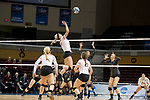 GRAND RAPIDS, MI - NOVEMBER 18: Aubrey Cox (10) of Wittenberg University leaps to tap the ball during the Division III Women's Volleyball Championship held at Van Noord Arena on November 18, 2017 in Grand Rapids, Michigan. Claremont-M-S defeated Wittenberg 3-0 to win the National Championship. (Photo by Doug Stroud/NCAA Photos via Getty Images)