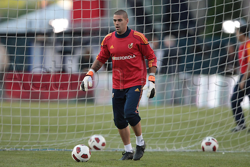03 JUN 2011:  Spain's Victor Valdes. The Men's National Team of Spain practiced at Gillette Stadium in Foxborough, Massachusetts on June 3, 2011 ahead of their game with the  US National team on 4th June.