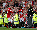 Wayne Rooney of Manchester United is replaced by 16 year old Angel Gomes of Manchester United during the English Premier League match at the Old Trafford Stadium, Manchester. Picture date: May 21st 2017. Pic credit should read: Simon Bellis/Sportimage