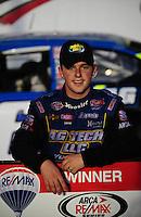 Oct 3, 2008; Talladega, AL, USA; ARCA RE/MAX Series driver Justin Allgaier celebrates after winning the Remax 250 at Talladega Superspeedway. Mandatory Credit: Mark J. Rebilas-