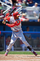 Williamsport Crosscutters designated hitter Jose Pujols (23) at bat during a game against the Batavia Muckdogs on July 16, 2015 at Dwyer Stadium in Batavia, New York.  Batavia defeated Williamsport 4-2.  (Mike Janes/Four Seam Images)
