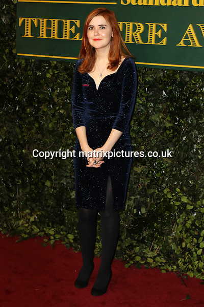 NON EXCLUSIVE PICTURE: MATRIXPICTURES.CO.UK<br /> PLEASE CREDIT ALL USES<br /> <br /> WORLD RIGHTS<br /> <br /> Katherine Soper attends the Evening Standard Theatre Awards 2017 at Theatre Royal, Drury Lane in London. <br /> <br /> DECEMBER 3rd 2017<br /> <br /> REF: MES 172784