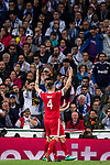 Niklas Sule of FC Bayern Munich celebrates as teammate James Rodriguez scores their team's second goal during the UEFA Champions League Semi-final 2nd leg match between Real Madrid and Bayern Munich at the Estadio Santiago Bernabeu on May 01 2018 in Madrid, Spain. Photo by Diego Souto / Power Sport Images