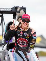 Oct 20, 2019; Ennis, TX, USA; NHRA top alcohol dragster driver Megan Meyer celebrates after winning the Fall Nationals at the Texas Motorplex. Mandatory Credit: Mark J. Rebilas-USA TODAY Sports