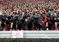 "ATHENS, GA - SEPTEMBER 21: University of Georgia Bulldog fans, ""the spike squad"" during a game between Notre Dame Fighting Irish and University of Georgia Bulldogs at Sanford Stadium on September 21, 2019 in Athens, Georgia."