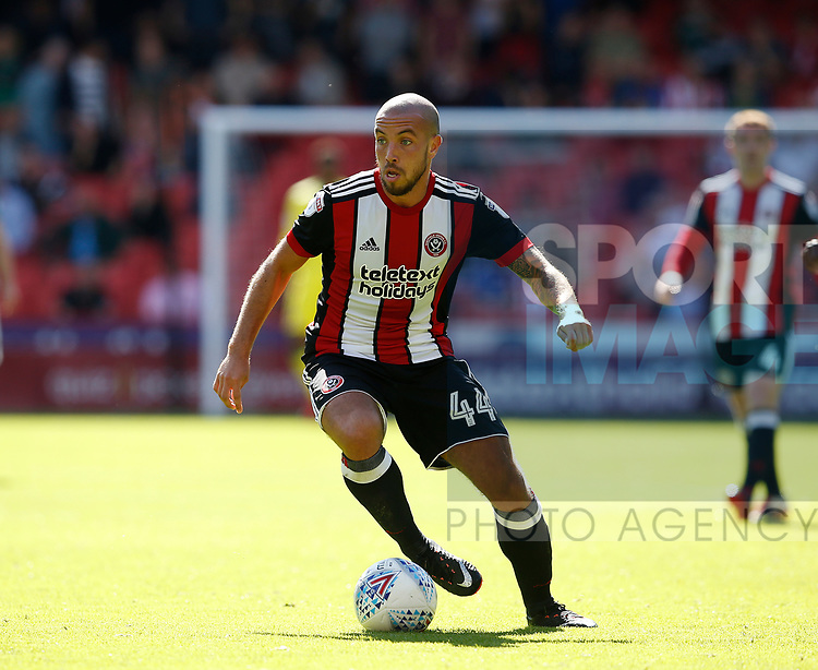 Samir Carruthers of Sheffield Utd in action during the English Championship League match at Bramall Lane Stadium, Sheffield. Picture date: August 5th 2017. Pic credit should read: Simon Bellis/Sportimage
