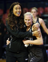 12.10.2016 Silver Ferns Maria Tutaia and Laura Langman during the Silver Ferns v Australia netball test match played at the Silver Dome in Launceston in Australia.. Mandatory Photo Credit ©Michael Bradley.