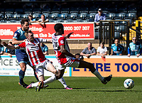 Sam Wood of Wycombe Wanderers shoots during the Sky Bet League 2 match between Wycombe Wanderers and Cheltenham Town at Adams Park, High Wycombe, England on the 8th April 2017. Photo by Liam McAvoy.