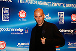 ZINEDINE ZIDANE at the press conference before the game. Goodwill ambassadors RONALDO and ZINEDINE ZIDANE include among others football stars, More than 30 international football players from top teams around the world compete in Match Against Poverty hosted this year by Olympiacos football club in Piraeus, Greece.