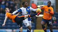 Blackburn Rovers' Amari'i Bell battles with Oldham Athletic's Cameron Dummigan (left) and Ousmane Fane (right) <br /> <br /> Photographer Stephen White/CameraSport<br /> <br /> The EFL Sky Bet League One - Blackburn Rovers v Oldham Athletic - Saturday 10th February 2018 - Ewood Park - Blackburn<br /> <br /> World Copyright &copy; 2018 CameraSport. All rights reserved. 43 Linden Ave. Countesthorpe. Leicester. England. LE8 5PG - Tel: +44 (0) 116 277 4147 - admin@camerasport.com - www.camerasport.com