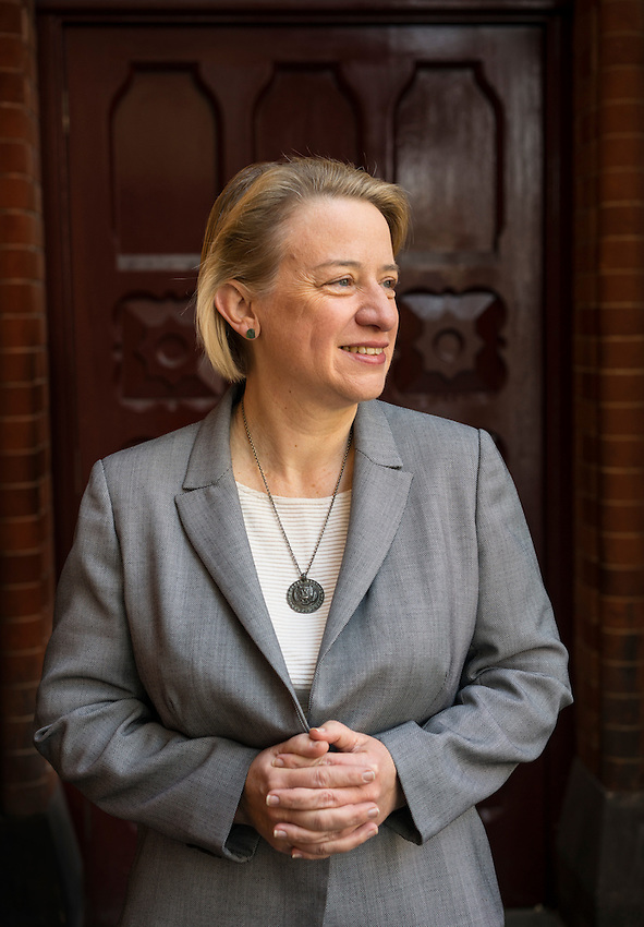 Natalie Bennett is an Australian-born British politician and journalist. She was elected to her position as the leader of the Green Party of England and Wales on 3 September 2012. She was photographed outside St. Pancras station.