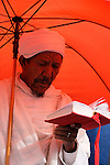 Israel, Jerusalem. A Jewish Ethiopian man prays at the annual Sigd festival, November 2004<br />