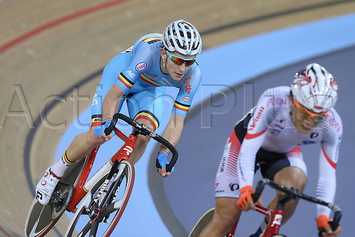05.03.2016. Lee Valley Velo Centre, London, England. UCI Track Cycling World Championships Mens Omnium.  DE BUYST Jasper (BEL)