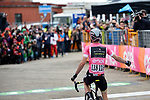 Race leader Maglia Rosa Simon Yates (GBR) Mitchelton-Scott wins Stage 9 of the 2018 Giro d'Italia, running 225km from Pesco Sannita to Gran Sasso d'Italia (Campo Imperatore), this year's Montagna Pantani, Italy. 13th May 2018.<br /> Picture: LaPresse/Marco Alpozzi | Cyclefile<br /> <br /> <br /> All photos usage must carry mandatory copyright credit (&copy; Cyclefile | LaPresse/Marco Alpozzi)