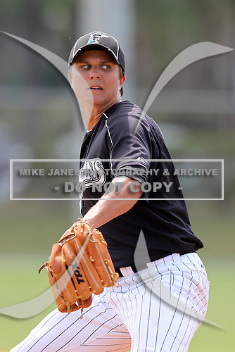 Florida Marlins minor league player Michael Ojala #92 during a spring training game vs the St. Louis Cardinals at the Roger Dean Sports Complex in Jupiter, Florida;  March 25, 2011.  Photo By Mike Janes/Four Seam Images