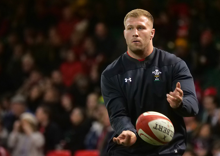 Wales' Ross Moriarity during the pre match warm up<br /> <br /> Photographer Ian Cook/CameraSport<br /> <br /> Under Armour Series Autumn Internationals - Wales v South Africa - Saturday 24th November 2018 - Principality Stadium - Cardiff<br /> <br /> World Copyright © 2018 CameraSport. All rights reserved. 43 Linden Ave. Countesthorpe. Leicester. England. LE8 5PG - Tel: +44 (0) 116 277 4147 - admin@camerasport.com - www.camerasport.com