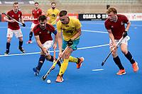 2nd February 2020; Sydney Olympic Park, Sydney, New South Wales, Australia; International FIH Field Hockey, Australia versus Great Britain; Flynn Ogilvie of Australia takes on Adam Dixon of Great Britain