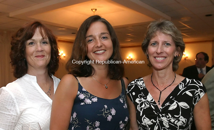 WOLCOTT, CT 6/28/07- 062807BZ13- From left- Eileen McDonnell, of Waterbury, Helena Gwiazdoski, of Waterbury, and Kathy O'Leary, of Watertown, <br /> <br /> during the 3rd Annual Blessed Sacrament Waterbury Butterfly Award Dinner at Mahan's lakeview Fine Catering in Wolcott Thursday night. <br /> Jamison C. Bazinet Republican-American