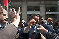 Matteo Renzi (PD) shakes hands to citizens during the italian first president Matteo Renzi in Milan for EXPO, on May 13, 2014. Photo: Adamo Di Loreto/BuenaVista*photo