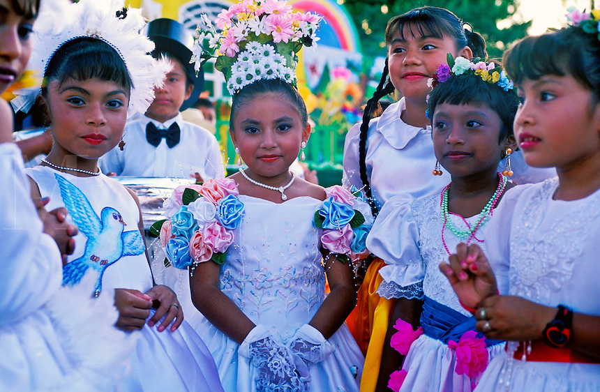 Mexico, Cozumel Island. Group of young children celebrating the Rites of Spring....