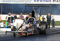 Nov 11, 2010; Pomona, CA, USA; NHRA top alcohol dragster driver Monroe Guest during qualifying for the Auto Club Finals at Auto Club Raceway at Pomona. Mandatory Credit: Mark J. Rebilas-