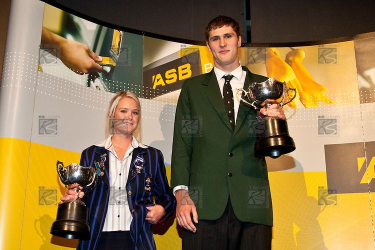 Young Sportswoman Samantha Harrison & Young Sportsman Robert Loe. ASB College Sport Auckland Secondary School Young Sports Person of the Year Awards held at Eden Park on Thursday 12th of September 2009.