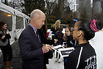 Scott Hamilton signs for skaters - Skating with the Stars - a benefit gala for Figure Skating in Harlem in its 17th year is celebrated with many US, World and Olympic Skaters honoring Michelle Kwan and Jeff Treedy on April 7, 2014 at Trump Rink, Central Park, New York City, New York. (Photo by Sue Coflin/Max Photos)