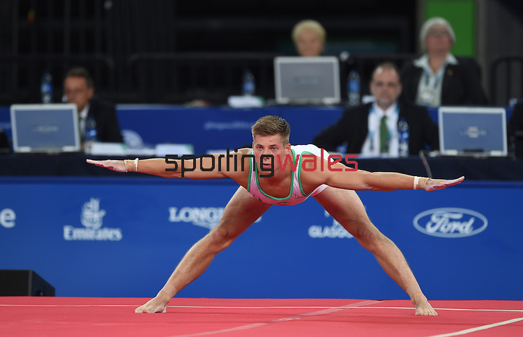 Wales' Robert Sansby completes his floor routine<br /> <br /> Gymnastics artistic - Team final & Individual Qualification <br /> <br /> Photographer Chris Vaughan/Sportingwales<br /> <br /> 20th Commonwealth Games - Day 5 - Monday 28th July 2014 - Gymnastics artistic - The SSE Hydro - Glasgow - UK
