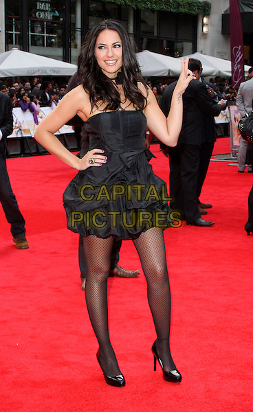 BARBARA MORI  .European Premiere of 'Kites' at the Odeon West End, Leicester Square, London, England. .May 18th 2010.full length dress black choker corsage necklace hand on hip v peace sign .CAP/ROS.©Steve Ross/Capital Pictures.