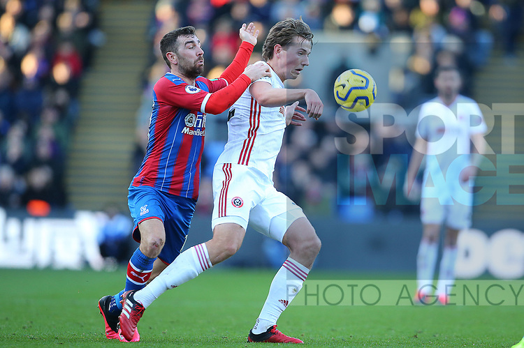 Sheffield United's Sander Berge Crystal Palace's James McArthur challenge for the ball during the Premier League match at Selhurst Park, London. Picture date: 1st February 2020. Picture credit should read: Paul Terry/Sportimage