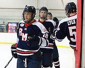 Ron Cramer (RMU - 18), Tyler Hinds (RMU - 3) - The Bentley University Falcons defeated the visiting Robert Morris University Colonials 2-1 on Friday, January 6, 2012, at the John A. Ryan Skating Arena in Watertown, Massachusetts.