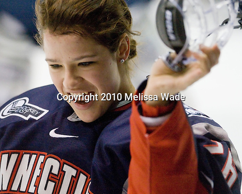 Monique Weber (UConn - 26) - The University of Connecticut Huskies defeated the Northeastern University Huskies 4-1 in Hockey East quarterfinal play on Saturday, February 27, 2010, at Matthews Arena in Boston, Massachusetts.