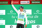 Miguel Angel Lopez Moreno (COL) Astana Pro Team retains the young riders White Jersey at the end of Stage 12 of La Vuelta 2019 running 171.4km from Circuito de Navarra to Bilbao, Spain. 5th September 2019.<br /> Picture: Luis Angel Gomez/Photogomezsport | Cyclefile<br /> <br /> All photos usage must carry mandatory copyright credit (© Cyclefile | Luis Angel Gomez/Photogomezsport)
