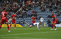 Preston North End's Louis Moult scores his sides second goal <br /> <br /> Photographer Mick Walker/CameraSport<br /> <br /> The EFL Sky Bet Championship - Preston North End v Wigan Athletic - Saturday 10th August 2019 - Deepdale Stadium - Preston<br /> <br /> World Copyright © 2019 CameraSport. All rights reserved. 43 Linden Ave. Countesthorpe. Leicester. England. LE8 5PG - Tel: +44 (0) 116 277 4147 - admin@camerasport.com - www.camerasport.com