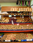 Variety of potatoes and vegetables  on display in Santa Cruz market, Santa Cruz, Tenerife, Canary Islands.