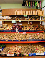 Variety of potatoes and vegetables  on display in Santa Cruz market, Santa Cruz, Tenerife, Canary Islands.
