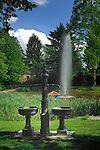 Water fountains at a small pond in Altdorf near Nurmburg,Germany.