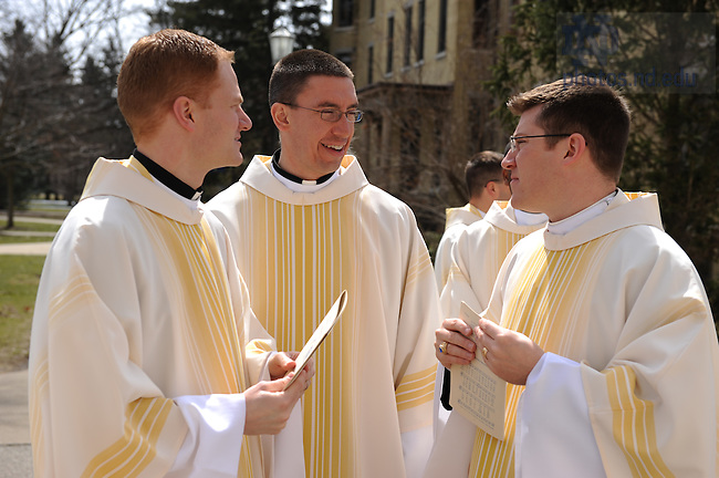 Holy Cross priests enter the Basilica for ordination mass, March 2008.