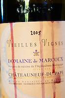 Cuvee Vieilles Vignes. Domaine de Marcoux, Chateauneuf-du-Pape. Rhone. France Europe. Bottle.