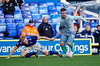 4th January 2020; St Andrews, Birmingham, Midlands, England; English FA Cup Football, Birmingham City versus Blackburn Rovers; Adam Armstrong of Blackburn Rovers avoids the tackle of Kristian Pedersen of Birmingham City - Strictly Editorial Use Only. No use with unauthorized audio, video, data, fixture lists, club/league logos or 'live' services. Online in-match use limited to 120 images, no video emulation. No use in betting, games or single club/league/player publications